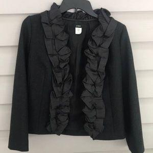 J. Crew Charcoal Wool Blazer / 100 Silk Trim SZ 0